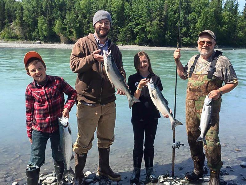 Family on a guided Kenai River fishing trip