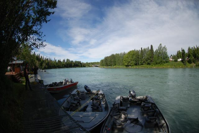 Fishing boats tied up along the Kenai River