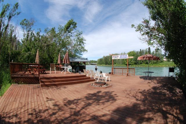wide angle view of riverfront deck